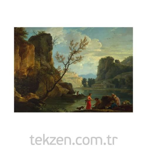 Claude Joseph Vernet - A River with Fishermen 50x70 cm