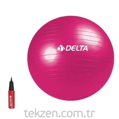 Delta  - DS 6509 Dura-Strong Fuşya Deluxe Pilates Topu ( 65 cm Pilates Topu + Pompa )
